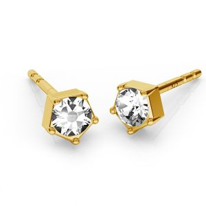 Earrings with 3 mm Swarovski Crystals, sterling silver, ODL-00466 KLS ver.2