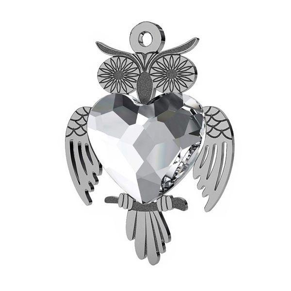 Owl pendant with Swarovski heart 14 mm, LK-0432 ver.2