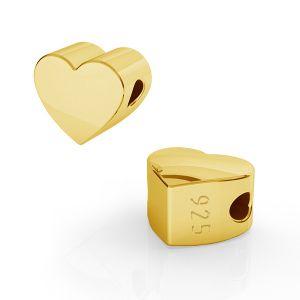 Heart bead pendant, sterling silver, ODL-00261