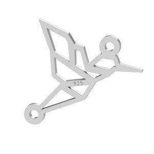 Origami hummingbird pendant connector, sterling silver, LKM-2082 - 0,50