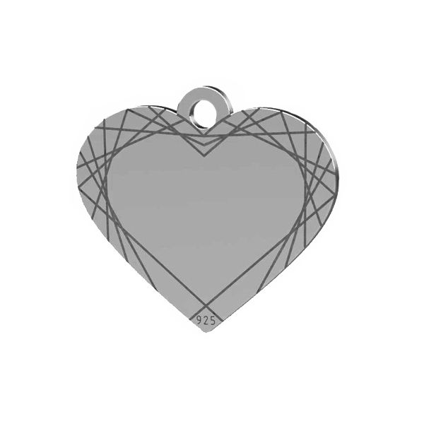 Heart pendant tag, sterling silver, LK-1483 - 0,50