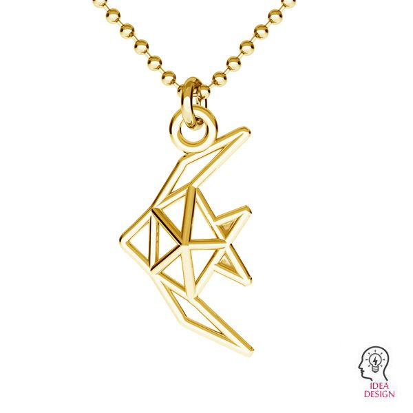 Origami fish pendant, sterling silver, ODL-00490