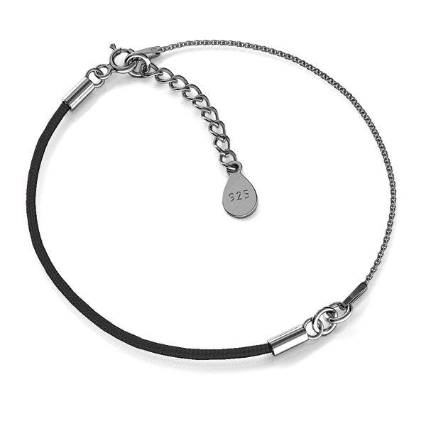 Base for bracelets, black cord and chain, sterling silver 925, S-BRACELET 12