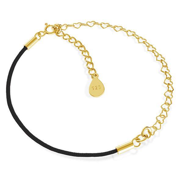 Base for bracelets, black cord and heart chain, sterling silver 925, S-BRACELET 13
