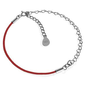 Base for bracelets, red cord and heart chain, sterling silver 925, S-BRACELET 13
