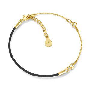 Base for bracelets, black cord and chain, sterling silver 925, S-BRACELET 15