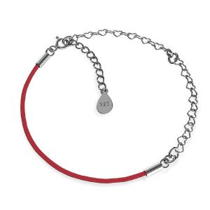 Base for bracelets, black cord and chain, sterling silver 925, S-BRACELET 16