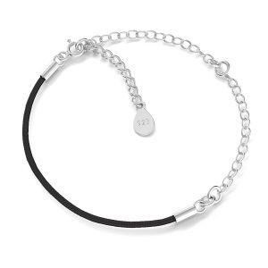 Base for bracelets, black cord and chain, sterling silver 925, S-BRACELET 17 (BLACK)
