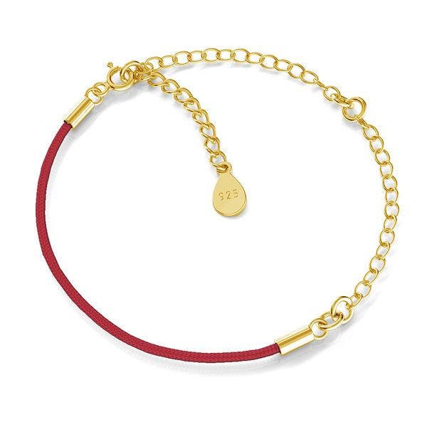 Base for bracelets, red cord and chain, sterling silver 925, S-BRACELET 17 (RED)