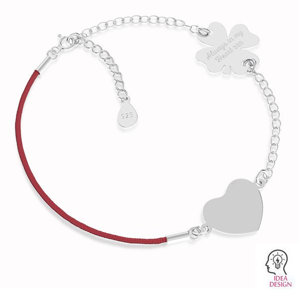 Base for bracelets, red cord and chain, sterling silver 925, S-BRACELET 17