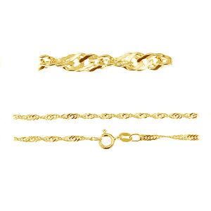 S 25 (40-60 cm) AU/RH, gold or rhodium plated singapore chain sterling silver