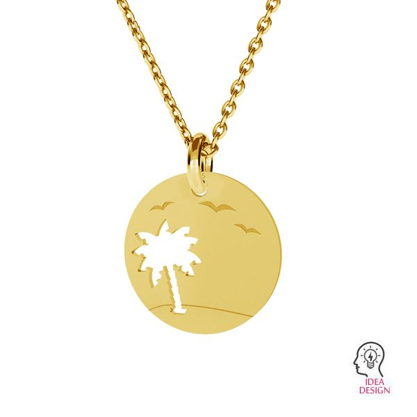 Palm tree pendant, sterling silver, LKM-2089 - 0,50