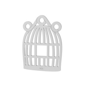 Bird cage pendant connector, sterling silver, LKM-2094 - 0,50