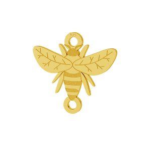 Bee pendant connector, sterling silver, LKM-2096 - 0,50