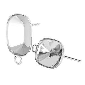 Sterling silver earrings Cushion Fancy Stone base, OKSV 4568 MM 14,0X 10,0 KLS CON 1