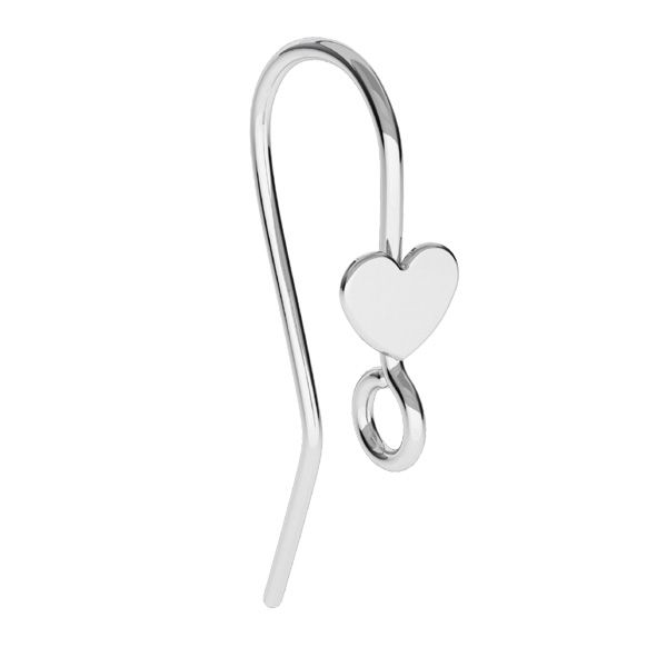 Earrings hooks with heart, sterling silver, BO 61 ver.2