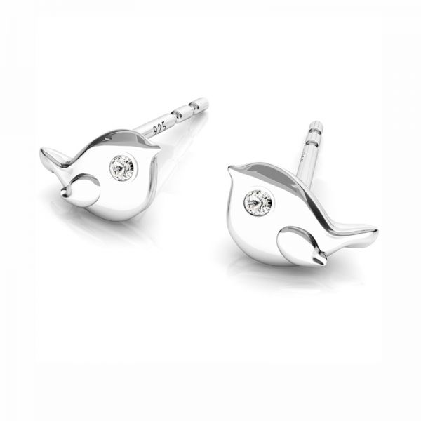 Bird earrings with Swarovski Crystals, silver 925, ODL-00511 KLS (L+P)