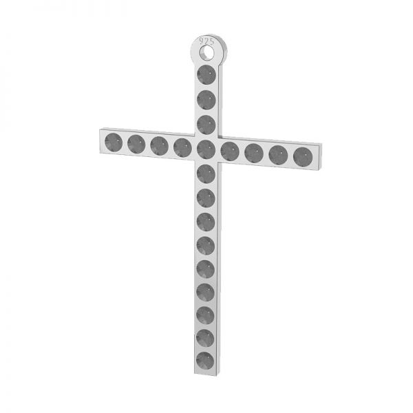 Cross pendant, Swarovski base, sterling silver, LKM-2119 (1028 PP 4)