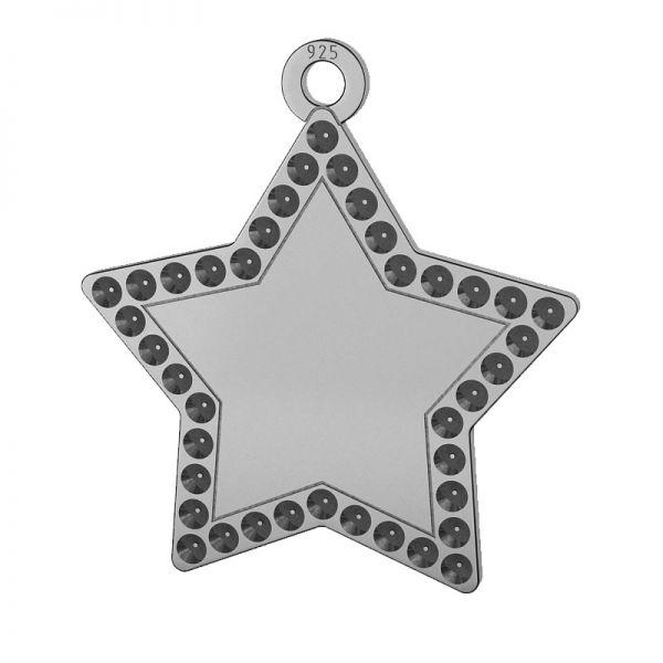Star pendant, Swarovski base, sterling silver, LKM-2132 - 0,80 (1028 PP 4)