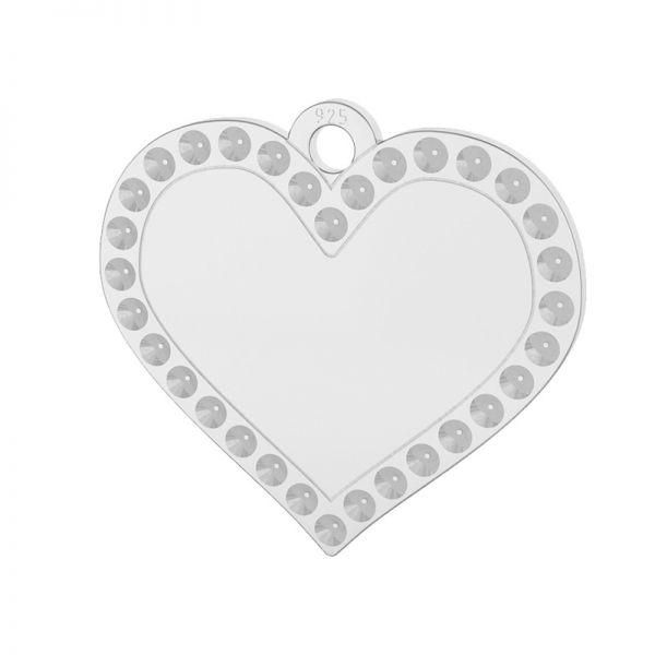 Heart pendant, Swarovski base, sterling silver, LKM-2139 - 0,80 (1028 PP 4)