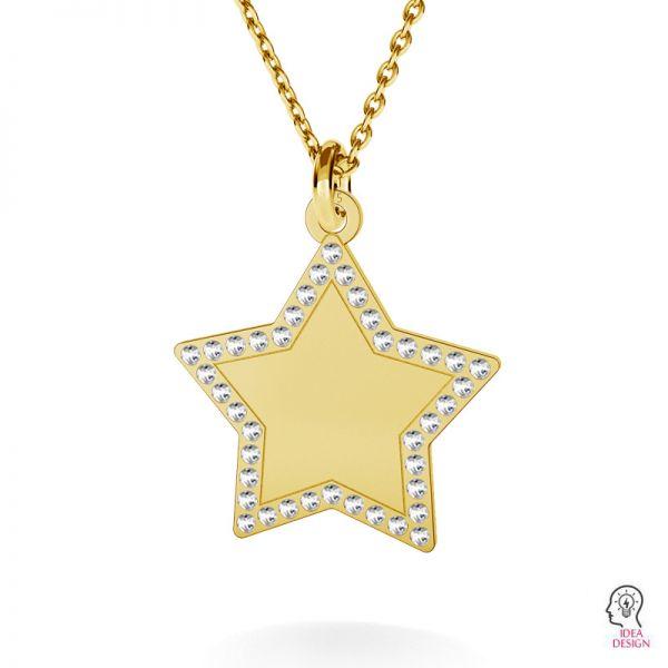Star pendant with Swarovski Crystals, sterling silver, LKM-2132 - 0,80 ver.2