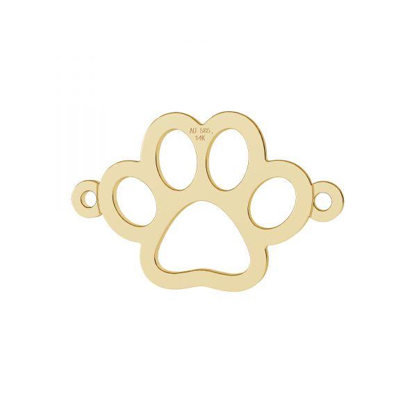 Gold dog paw pendant, gold 14K, LKZ-00366 - 0,30