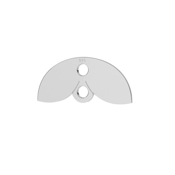 Leaf pendant connector, sterling silver, LKM-2166 - 05