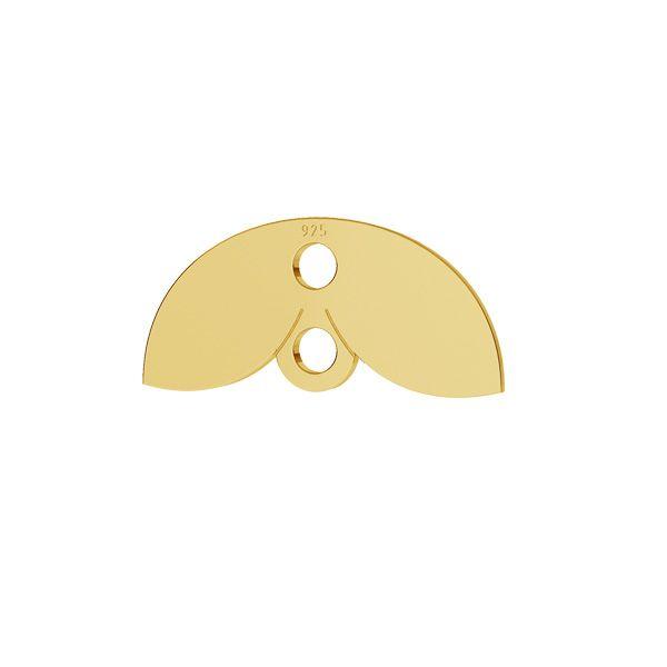 Leaf pendant connector, sterling silver, LKM-2166 - 05