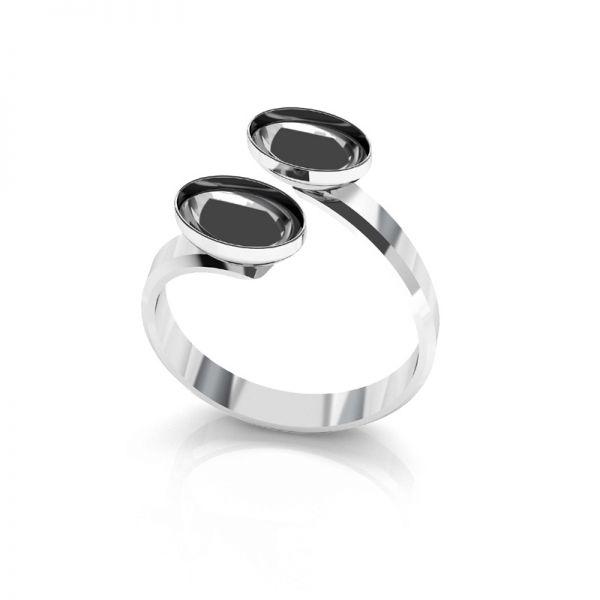 Sterling silver ring Swarovski base, OKSV 4122 MM  8,00 DOUBLE RING