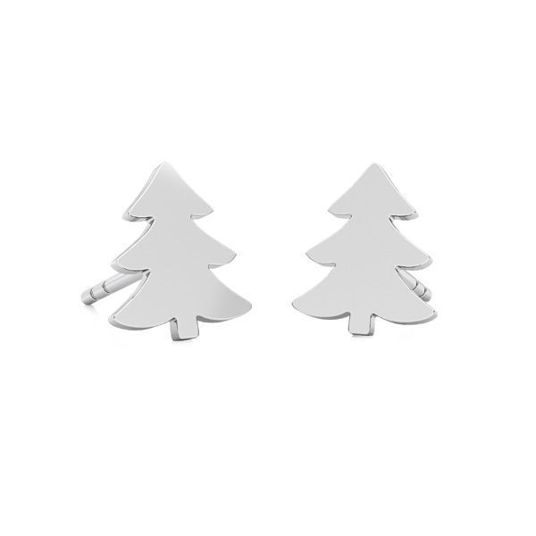Christmas tree earrings, sterling silver 925, LKM-2242 - 0,50 KLS