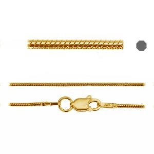 SNAKE 020 DC8L (45-50 cm) CHR 8,0 AU/RH, sterling silver snake chain