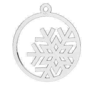 Snowflake pendant, sterling silver, LKM-2257 - 0,50