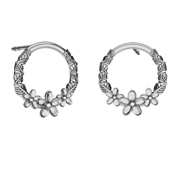Round earstuds flower sterling silver, ODL-00607 KLS