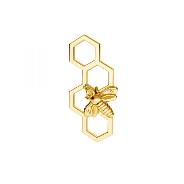 Bee honeycomb pendant connector, sterling silver 925, ODL-00084