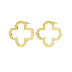 Clover earrings, sterling silver 925, KLS LKM-2291 - 0,50 13x13 mm