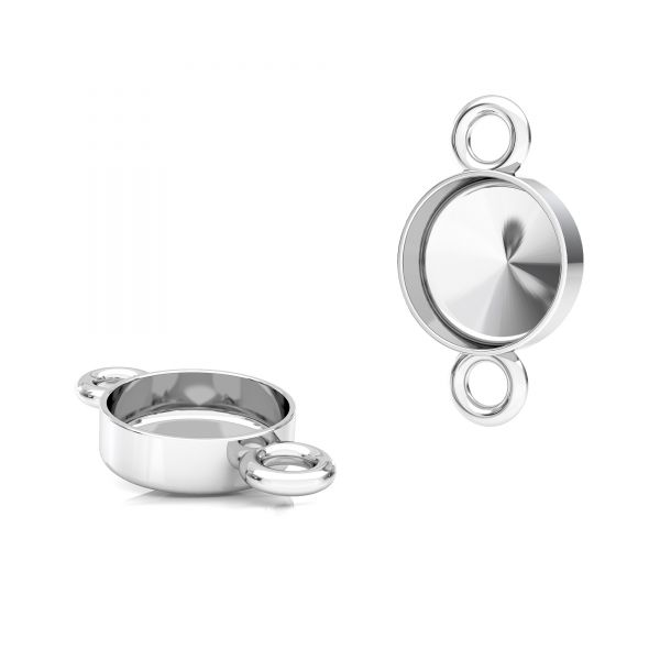 Round pendant connector for resin, sterling silver 925, FMG ROUND 7 MM CON 2 - 2,10 MM