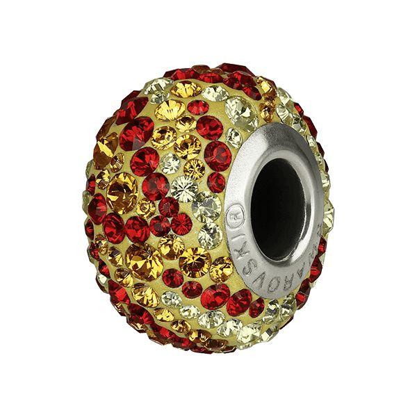 82043 BeCharmed Pavé Fire Bead - Topaz, Jonquil, Light Siam