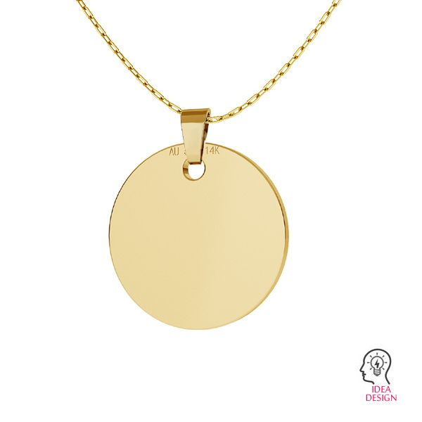 Round tag pendant gold 14K LKZ-00025 - 0,30 mm