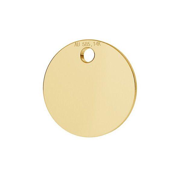 Round tag pendant gold 14K LKZ-00025 - 0,30 mm