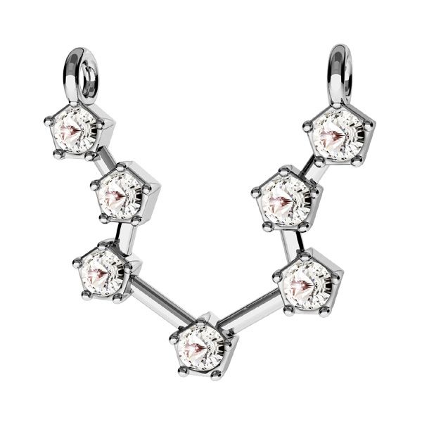 Aquarius zodiac pendant with Swarovski Crystals*sterling silver 925*ODL-00637