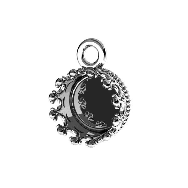 Round pendant for resin, sterling silver 925, FMG ROUND 7 MM CON 1 - 2,10 MM