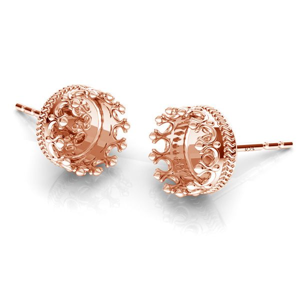 Crown, round earrings for resin, sterling silver 925, ODL-00680 KLS