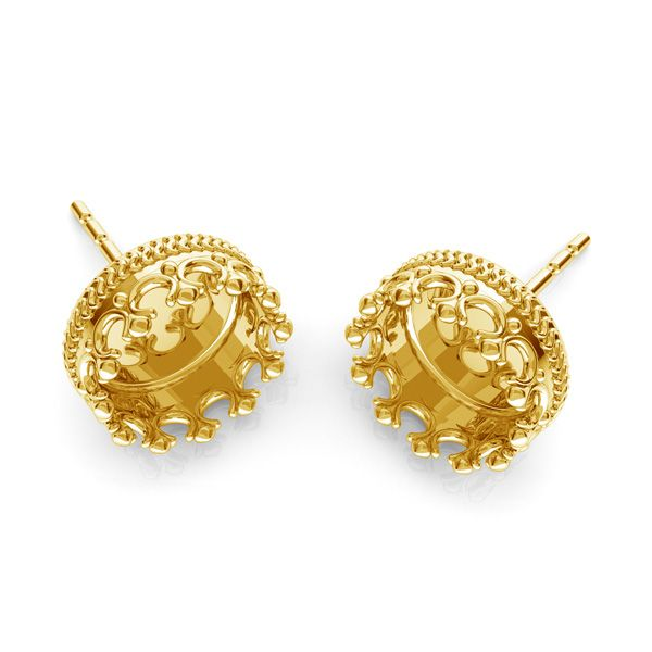 Crown, round earrings for resin, sterling silver 925, ODL-00681 KLS