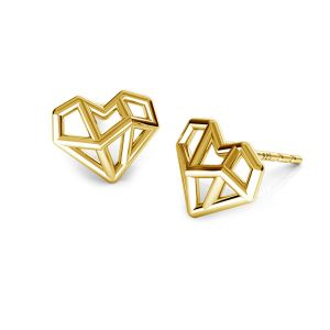 origami heart earrings, sterling silver 925, ODL-00672 KLS