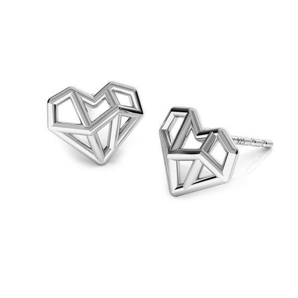 origami heart earrings, sterling silver 925, ODL-00672 KLS