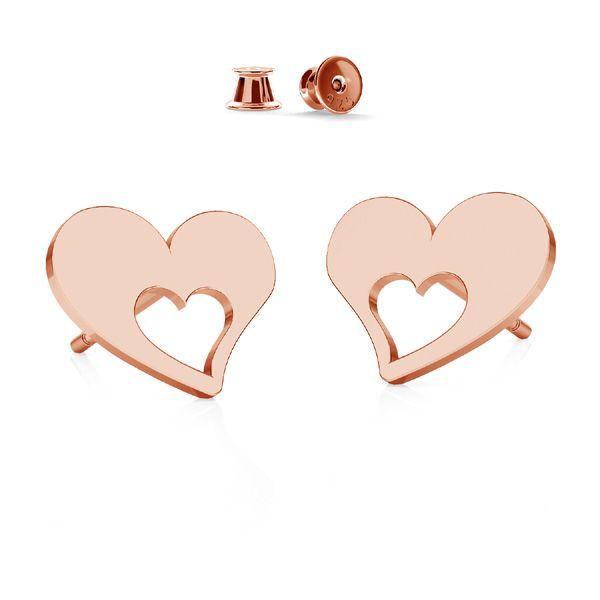 Heart earrings, sterling silver 925, KLS LKM-2357 - 0,50 8,4x8,4 mm