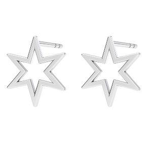 Star earrings, sterling silver 925, KLS LKM-2371 - 0,50 9,7x10,9 mm