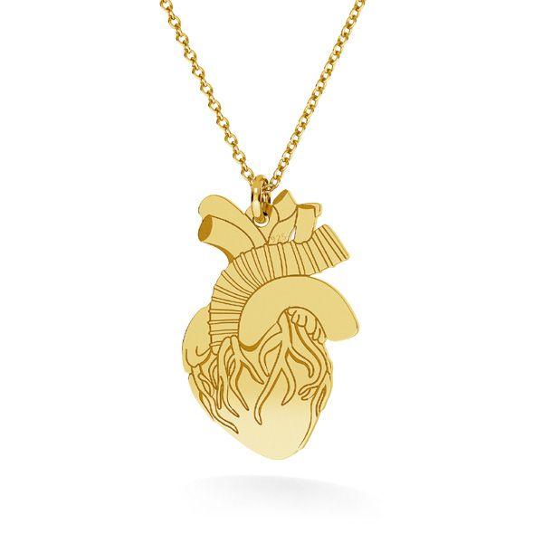 Human heart pendant, sterling silver, LKM-2370 - 0,50 14x21,6 mm