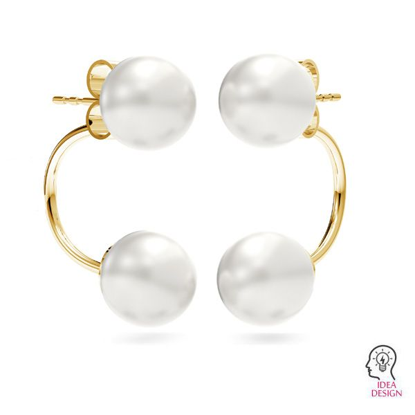 Ear back earrings pearl base*sterling silver 925*KLS MSK 4 SWING 5x18 mm