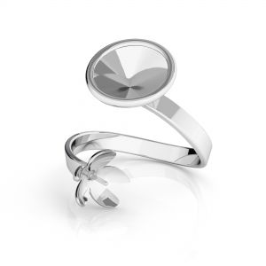 Ring Swarovski and pearl base*sterling silver 925*D-RING ODL-00088 (1122 SS 39, 5818 MM 10)